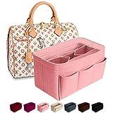 Purse Organizer Insert Felt Bag Organizer Handbag Organizer Insert for Tote fits LV Speedy Neverfull Longchamp, Grey, Medium (Medium, Pink)