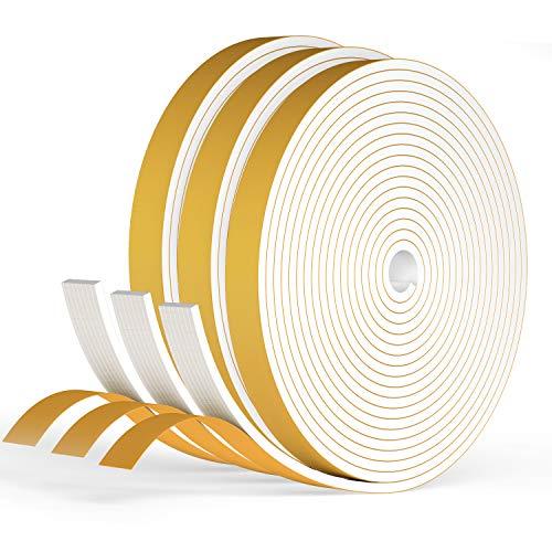 RATEL Tira de Sellado Junta 12 mm (W) * 3 mm (H) * 18 m (L) con Tijeras * 1, Tiras de Sellado Autoadhesivas Prova di collisione y Aislamiento Acústico para Grietas y Espacios (Blanco)