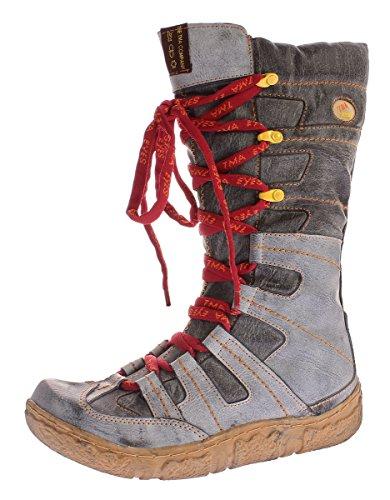 TMA Winter Leder Stiefel Damen Schuhe gefüttert Schwarz Winterstiefel im Used Look 7057 Gr. 37