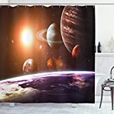 Ambesonne Galaxy Shower Curtain, Space Theme View of The Planets from Earth Science Room Art with Sun and Moon, Cloth Fabric Bathroom Decor Set with Hooks, 70' Long, Magenta Orange