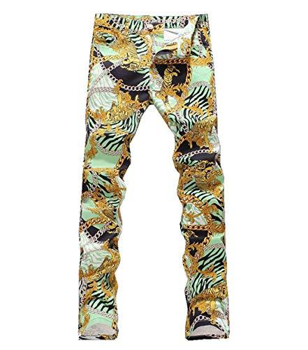 FHIORCK Hombres Cadena Tigre de la Manera impresión Jeans Hombre Slim