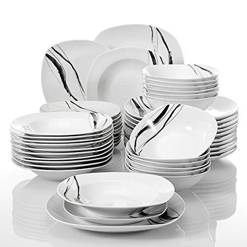 VEWEET Teresa Juegos de 48 Piezas Vajillas de Porcelana con 12 Cuencos de Cereales, 12 Platos, 12 Platos de Postre y 12 Platos Hondos para 12 Personas