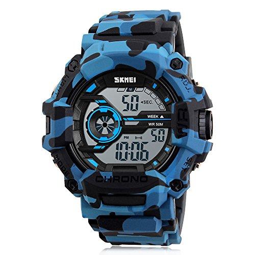 Boy's Digital Watch Camouflage Blue Sports Military Style Alarm LED Backlight Stopwatch Waterproof