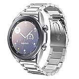SUNDAREE Compatible con Correa Galaxy Watch 3 41MM,20MM Plata Metal Acero Inoxidable Reemplazo Pulseras Repuesto Smartwatch Band para Samsung Galaxy 4 Classic 42MM/Smartwatch GTS/Huawai Watch GT 2 42