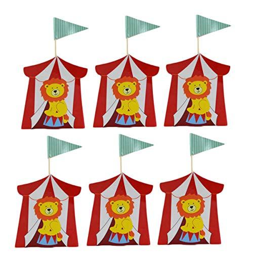 TOYANDONA Cajas de favores de Fiesta de Circo de 20 Piezas Animal de Dibujos Animados Regalo de Papel de león Caja Dulce de Caramelo con Bandera para Baby Shower Suministros de cumpleaños para niños
