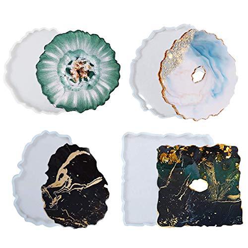 Meowtutu Juego de 4 posavasos de silicona con forma de silicona, resina epoxi, gran resina, molde de silicona, molde de resina, molde para moldear, juego DIY para moldear, resina Art de ágata