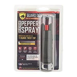 Guard Dog Security Hard Case Pepper Spray Keychain w/Belt Clip, Red Hot Self Defense Spray with UV Dye, Black