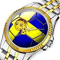 時計、機械式時計 メンズウォッチクラシックスタイルのメカニカルウォッチスケルトンステンレススチールタイムレスデザインメカニ (ゴールド)-529. スウェーデンサッカーボールの旗