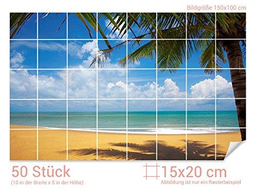 GRAZDesign Fliesenaufkleber Bad Strand - Badezimmer Fliesen Aufkleber Meeresblick - Fliesenbilder Bad Meer - Fliesenaufkleber Palmen/Fliesenmaß: 15x20cm (BxH) / 761008_15x20_100