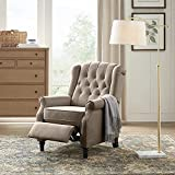 YANXUAN Pushback Recliner Chair, Recliner Armchair with Padded Seat, Footrest, Khaki