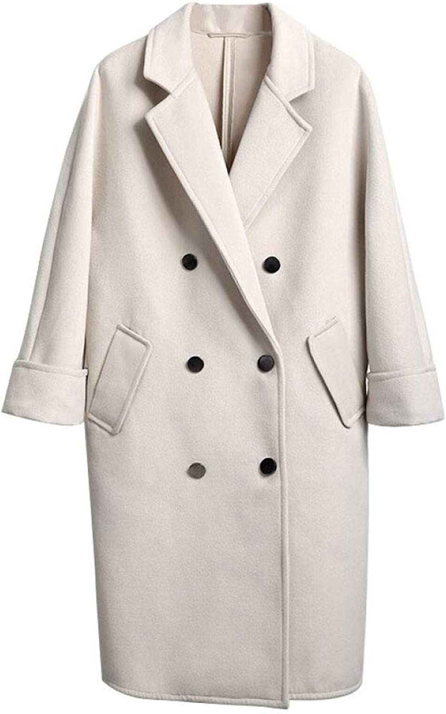 DFUCF Women's Woolen Coat Thicken DoubleBreasted Loose Long Sleeve Coat Winter
