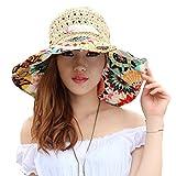 TININNA Pieghevole Bohemia Floreale floscio Large Wide Brim Cappello di Paglia Spiaggia Cappello da Sole Visiera cap per Signore delle Donne Beige