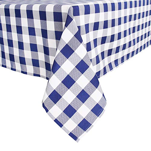 Royal Blue and White Checkered Tablecloth,60 x 104 Inch,Yarn-Dyed Rectangle/Oblong Plaid Table Cloth for Indoor Outdoor Picnic Party Banquet,Easy Care Washable Gingham Table Cover