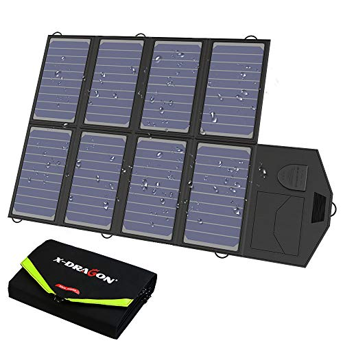 X-DRAGON Solar Ladegerät 40W 18V SunPower Faltbar Solar Panel Outdoor Ladegerät (5V USB + 18V DC) für Portable Generator, Car Battery, Laptop, iPhone, Huawei, 12V Auto Batterie, RV, Camping, Outdoor