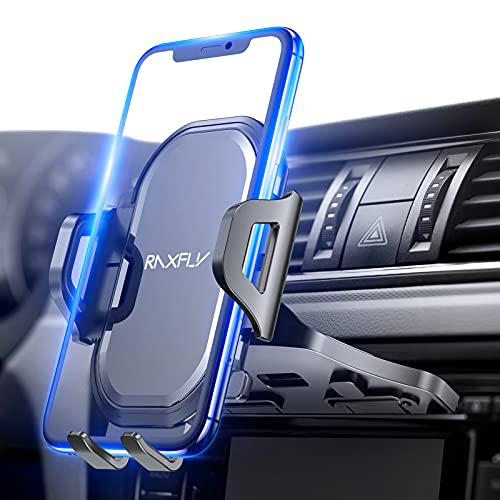 CD Slot Car Phone Mount Holder - RAXFLY One Button Installation Release CD Player Car Phone Holder Mount 360°Rotation Upgrade Compatible with iPhone Samsung Dark Gray