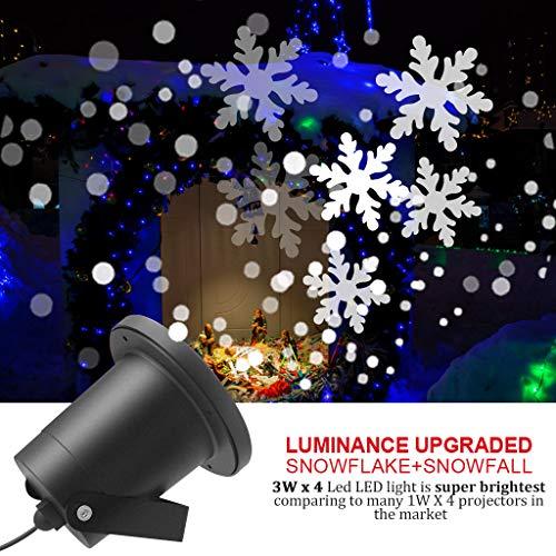 LED Projektionslampe mit Fernbedienung Bewegliche Punkte Muster Schneefall fr Innen und Auen mit Fernsteuerung, Beleuchtung als Gartenleuchte Projektor, Mauer Dekoration Party Weihnachten und Disco