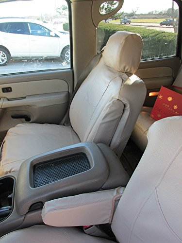 Durafit Seat Covers, C2211 Beige Leatherette Seat Covers for 2003-2007 Chevy Tahoe, Suburban and GMC Yukon Front Captain Chairs with Side Impact Airbags and Drivers Electric Controls.