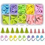 Marcadores de Puntos Ganchillo Set 60pcs Plástico Marcadores de Crochet 20pcs Silicona Tapones Protectores Agujas de Tejer Accesorios para Coser