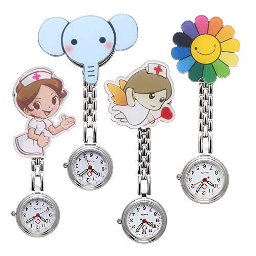 JSDDE Uhren Krankenschwesteruhr Set Pulsuhr FOB Uhr Pflegeruhr Krankenschwester Ärzte Muster Schwesternuhr Brosche Taschenuhr Analoge Quarzuhr (Set3(4 Stück))