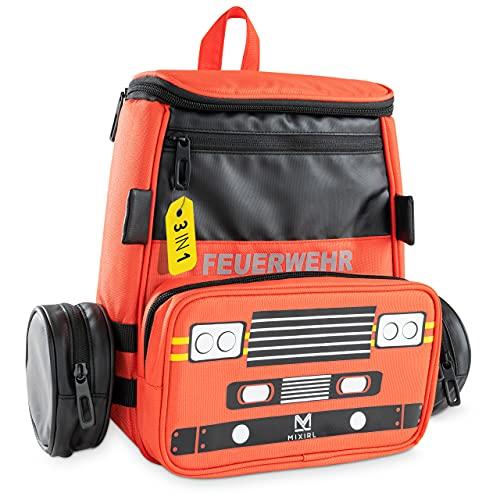 MIXIRL® 3in1 Kindergartenrucksack mit Federmäppchen Jungen | 3-7 Jahre | hochwertiger Kinderrucksack mit Brustgurt - wasserdicht & reflektierend - ideal für Wanderungen, Kita & Kindergarten