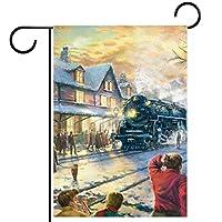ガーデンサイン庭の装飾屋外バナー垂直旗クリスマス冬の雪の列車オールシーズンダブルレイヤー