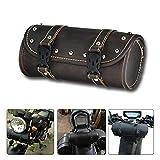 HDBUBALUS Universal Motorcycle Handlebar Tool Bag Front Fork Roll Storage Sissy Bar Barrel Bag PU Leather Deep Brown