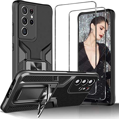 Tatitiy Schutzhülle für Samsung Galaxy S21 Ultra 5G Hülle mit Ring & 2 Panzerglas Hart Hüllen 360 Grad Outdoor Handyhülle für Samsung S21 Ultra Hülle Stoßfest Rugged Hülle Cover 6.8 Zoll