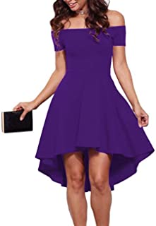 3d56bd5e2947 Sarin Mathews Womens Off The Shoulder Short Sleeve High Low Cocktail Skater  Dress