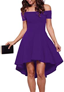 428d453ab850 Sarin Mathews Womens Off The Shoulder Short Sleeve High Low Cocktail Skater  Dress