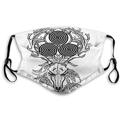 Deer Skull with Native American Ethnic Feather and Celtic Face Mask Reusable Washable Masks Cloth for Men and Women Size:M