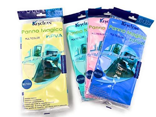 Keyclean 10 Panni Panno Magico 30X30cm in PVA Colori Assortiti Non graffia Le superfici Non Lascia aloni e Pelucchi Ottimo per la Pulizia dell'auto