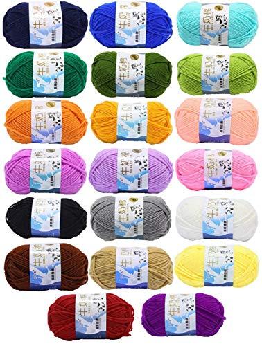 JZK 20 Multicolore 50g Coton au Lait Super Doux Fil de Laine pour Tricoter au Crochet Vêtements pour Bébé Chapeau Chaussures Chaussettes écharpe Fabrication de Jouets