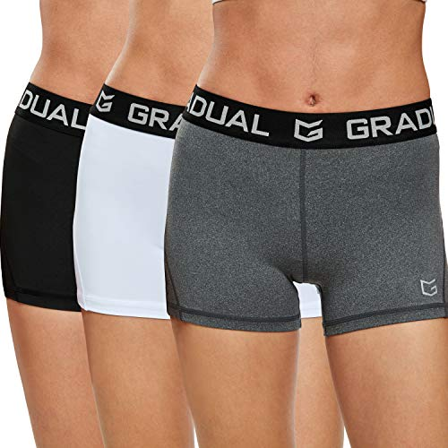 """Women's Spandex Compression Volleyball Shorts 3"""" /7"""" Workout Pro Shorts for Women (3 Pack:Black/White/Gray, L)"""