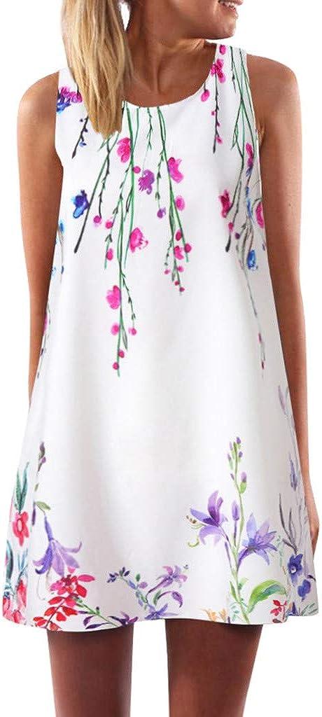 Toeava Women Dresses, Womens Casual Vintage Boho Loose Summer Sleeveless Floral Print Party Evening Mini Swing Dress