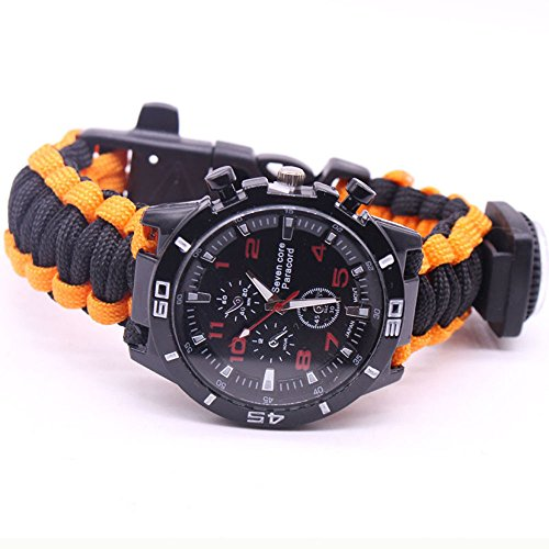 OHQ Outdoor Survival Uhren Militär Herrenuhren Arabische Ziffern Dekorative Sub-Dials Kompass Thermometer Seil Handgewebt Armbanduhren (B)