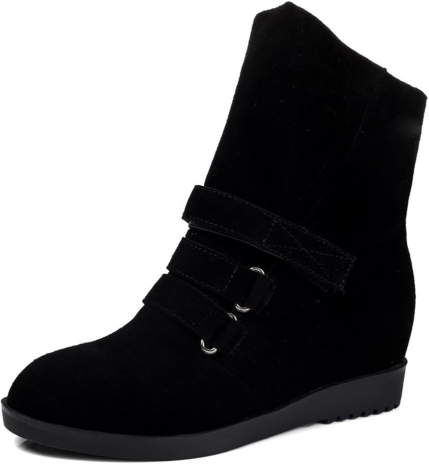 WeiPoot Women's Frosted Solid Closed-Toe Boots with Slipping Sole and Ring Velcro