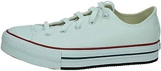 Converse Chuck Taylor All Star Platform Ox Blanco/Azul (White/Midnight Navy) Tela Adolescentes Entrenadores Zapatos
