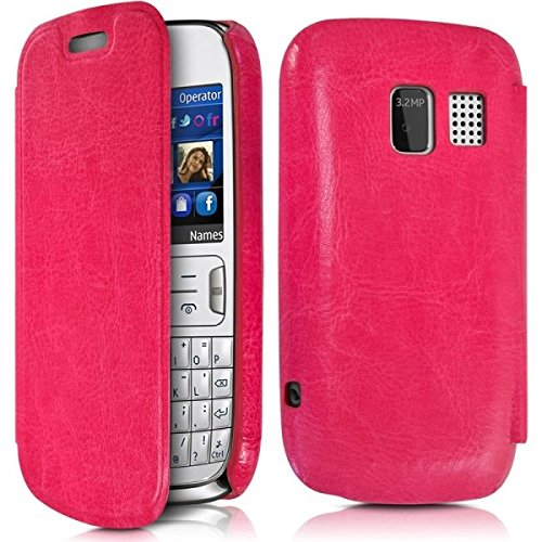 Seluxion Cover Case Shell with Flap in Fuchsia Pink for Nokia Asha 302 Screen Protector