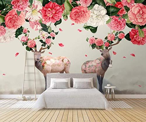Tapete 3D Wandbild Waldblumen Hirsche Fliegen Blütenblätter Fototapete 3D Effekt Vliestapete Wohnzimmer Wanddeko