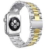 Armbänder für iWatch Uhrenarmband 38mm, AISPORTS Apple Watch Armband 38mm Edelstahl Smart Watch Ersatzband Armband Schnalle Schließe Wristband für 38mm iWatch Serie 3/2/1,Sport,Edition - Silber/Gold