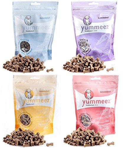 Yummeez Set 4 x 175g Knöchelchen Snack Set Geflügel. Lachs, Lamm & Wild 700g