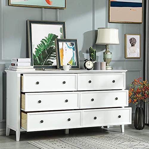 Kommode mit 6 Schubladen, Kommode aus Massivholz mit großem Stauraum, Organisator für Lagerturmkleidung, für großen Schrank, Schlafzimmer, Wohnzimmer (White)
