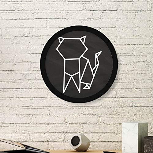 DIYthinker Resumen de Origami Gato Forma geométrica Arte Pintura Foto de la Imagen de Madera Marco Redondo Regalo a casa decoración de la Pared Grande Negro