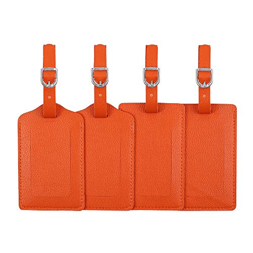 Luggage Tags, Microfiber Leather Personalized Suitcase Tag Set Luggage id Tags Labels Travel Accessories-Set of 4(Orange)