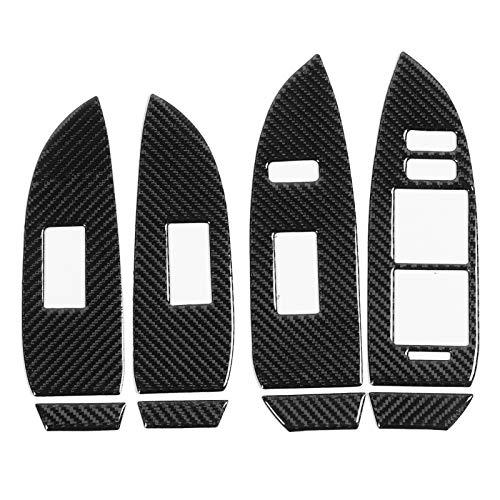 Ajuste de la cubierta del panel del interruptor de elevación de la ventana , 8 piezas de fibra de carbono Cubierta del panel del interruptor de elevación de la en pasta para Prius 2012-2015 RHD