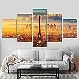 GUANGXING 5 Piezas De Lienzo Torre Eiffel Paris Francia Ciudad 5 Piezas Abstracto Arte De La Pared Lienzo Moderno Impresión Pinturas Casa Decoraciones
