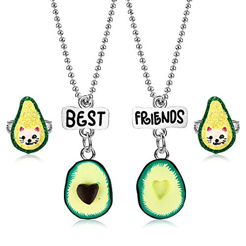 BB-GG Best Friends Avocado Necklace Ring Set for Children, Kid's Best Friend Jewelry,Friendship Gift Girls BFF Necklaces-Avocado