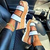 Zapatos con Plataforma Mujer Sandalias de Verano con Punta Abierta Tacones Altos Cómodas Correas de Tobillo Elásticas