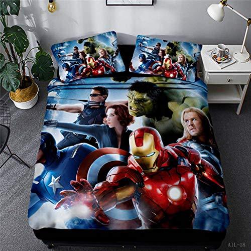 Juego de funda de edredón 3D Avengers Hulk, Thor, Iron Man, Capitán América, juego de ropa de cama infantil 100% microfibra con 1/2 funda de almohada (135 x 200 cm)