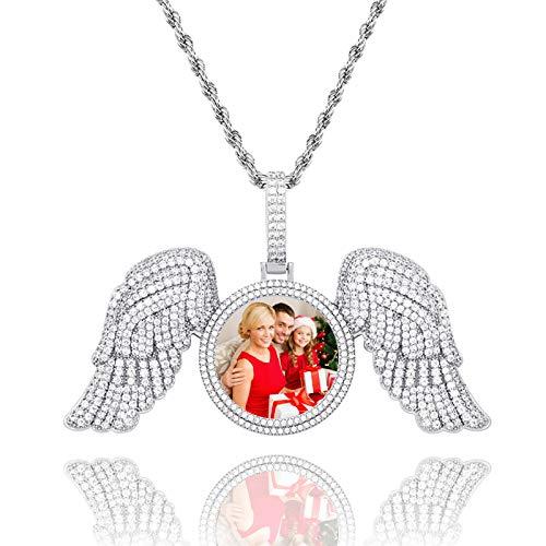 Collar de foto personalizado Collar de alas Collar de alas de ángel Collar de bronce con etiqueta de perro de foto personalizada(Plata 14)